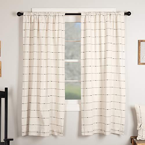 "Piper Classics Farmcloth Stripe Panel Curtains, Set of 2, 63"" Long, Urban Rustic Farmhouse Style Curtain, Natural Cream Woven w/ Black Stripes"
