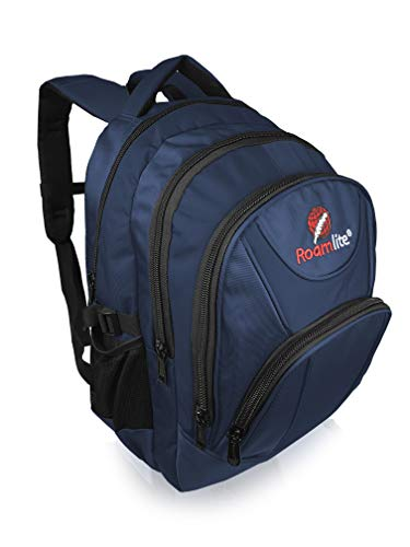 Roamlite Children's School Backpack, A4 Size Waterproof Nylon Multi Pocket Bag with Padded Back and Straps, 44 cm 25 Litre Capacity RL17NMCL Navy Blue