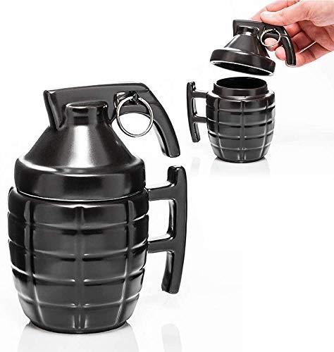 Funny Grenade mug - Taza de Desayuno para Cappuccino, café y té en cerámica - 300 ml - Taza en Forma de Granada con Tapa - Idea Original y Divertida de Regalo (negro)