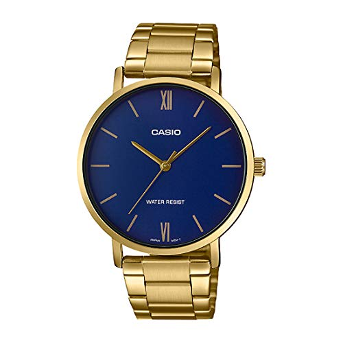 Casio MTP-VT01G-2B Men's Gold Tone Stainless Steel Minimalistic Blue Dial 3-Hand Analog Watch