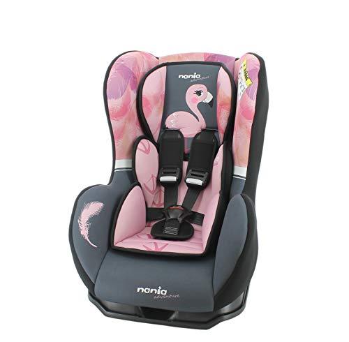 nania Seggiolino Auto Cosmo - Gruppo 0/1 (0-18kg) - Produzione Francese 100% - Protezioni Laterali - Flamingo