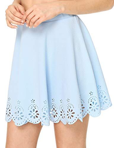 SheIn Women's Basic Solid Flared Mini Skater Skirt X-Large Light Blue