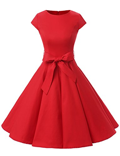 Dressystar Dressystar Damen Vintage 50er Cap Sleeves Dot Einfarbig Rockabilly Swing Kleider XXXL Rot