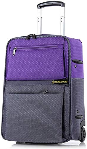 GQY Trolley - wheeled laptop bag briefcase business travel bag - suitcase for cabin bags (Color : Purple+gray, Size : Large (22))