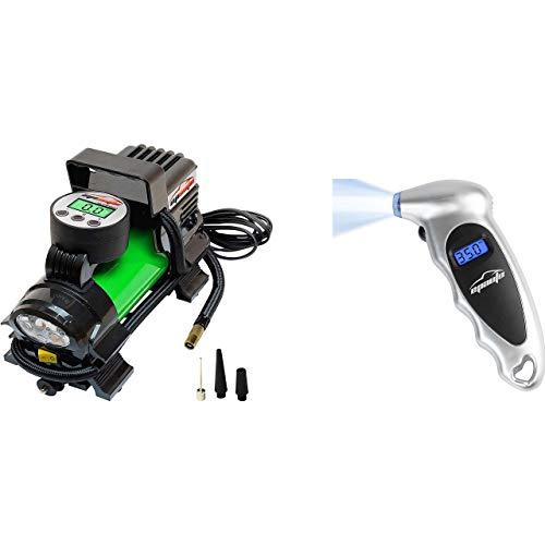 EPAUTO 12V DC Portable Air Compressor Pump, Digital Tire Inflator + Digital Tire Pressure Gauge, 150 PSI…