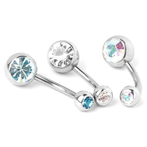 REFURBISHHOUSE 8X Joya de Cuerpo de Titanio de Diamante de Imitacion Piercing de Ombligo