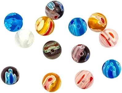 Sadingo Cuentas de cristal Murano mixtas con diseño de flores, 8 mm, 50 perlas, 5 colores, 10 cuentas de cada color, para manualidades, joyas