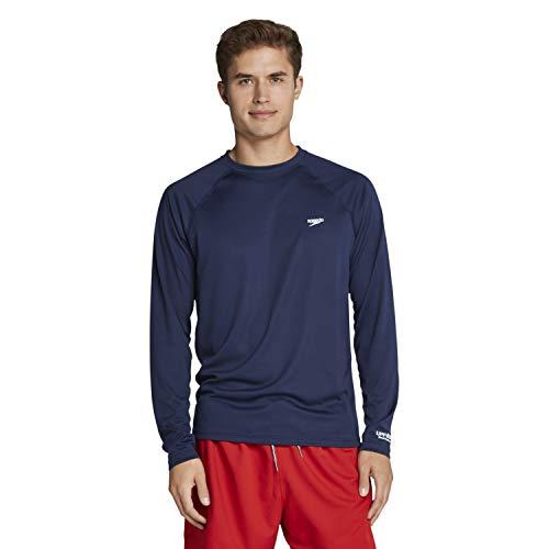 Speedo Men's Uv Swim Shirt Easy Long Sleeve Regular Fit Peacoat, Large