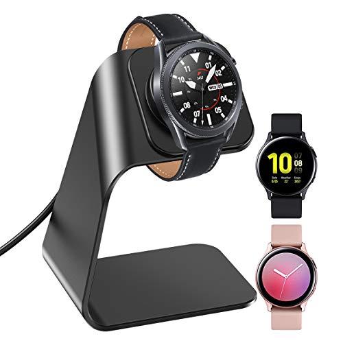 KIMILAR Cargador Compatible con Samsung Galaxy Watch 3/Galaxy Active 2 40mm 44mm/Galaxy Active 40mm Base de Carga, Aleación de Aluminio Reemplazo USB Cargador Cable para Galaxy Watch 3 (Negro)