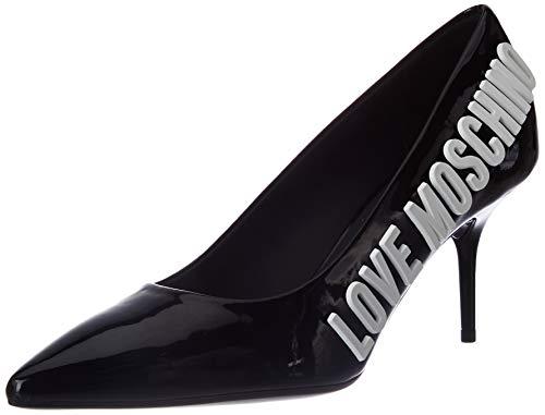 Love Moschino Scarpe col Tacco da 7 cm, décolleté Donna, Colore: in Vernice Nera, 35 EU