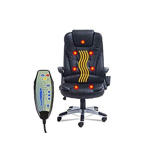 KANJJ-YU Presidente función giratoria Silla de oficina giratoria juego sillón de masaje vibratorio 7 masaje en los puntos inalámbrico con función de calefacción Negro PU cuero Ejecutivo Oficina de sil