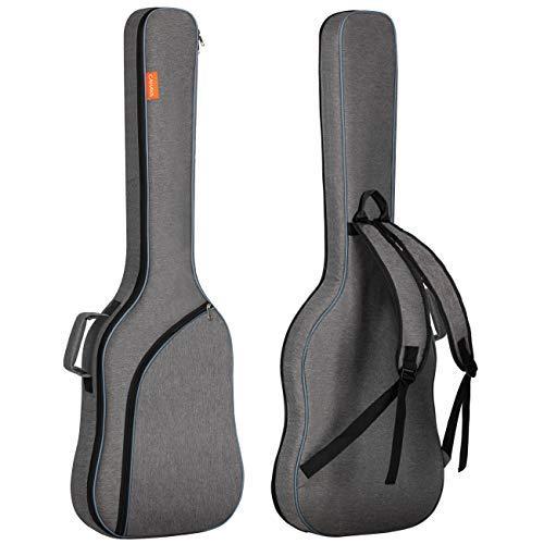 CAHAYA E-Bass Gitarrentasche Gigbag Rucksack Gepolsterter Weicher Gitarrenkoffer ca. 8 mm Polsterung Grau