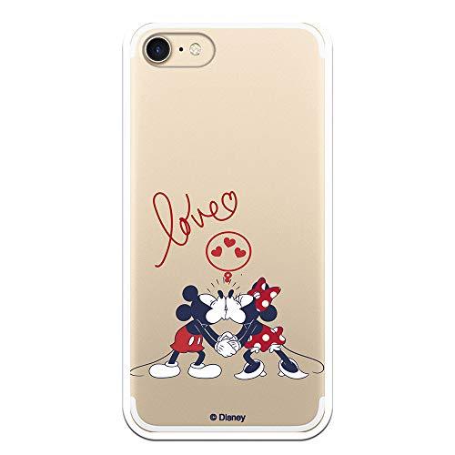 Funda para iPhone 7 - iPhone 8 - iPhone SE 2020 Oficial de Clásicos Disney Mickey y Minnie Love para Proteger tu móvil. Carcasa para Apple de Silicona Flexible con Licencia Oficial de Disney.