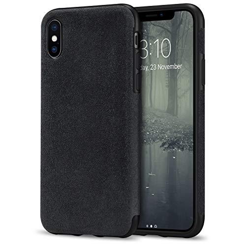 TENDLIN Cover iPhone XS/Cover iPhone X Fatta di Materiale Alcantara Custodia Hybrid in Pelle Compatibile con iPhone X e iPhone XS (Nero)