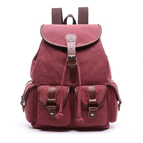 UEK Mädchen Segeltuch Rucksack Damen Reise Vintage Schulrucksack für Damen