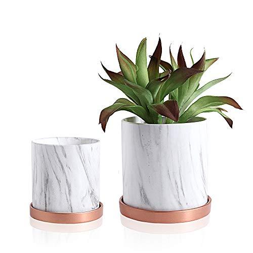 Smoofy 2 Sets von runder Keramik-Pflanzgefäß, 17 cm und 14 cm Blumentöpfe für Blumen, Kaktus, Sukkulenten-Übertopf, Garten, Blumentöpfe mit Drainageloch und Untersetzer weiß
