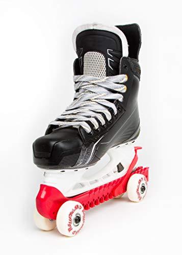 RollerGard Kufenschoner mit Rollen - Kufenschoner für Eishockey- & Schlittschuhe I Eishockeyschlittschuh-Schutz I Kufenzubehör I Rot - One Size