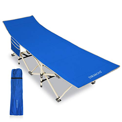 DRMOIS Folding Camping Cot, Compact Collapsible Heavy Duty Adult Sleeping Cot Bed with Storage Bag, Great for Travel Tent