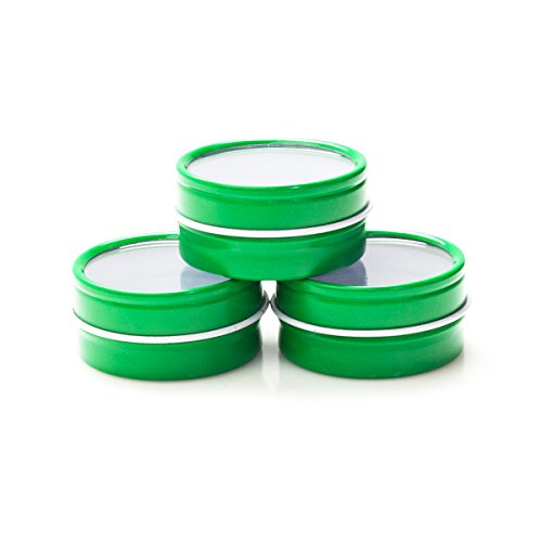 Mimi Pack 1/2 oz Shallow Window Lid Round Metal Tins For Favors, Spices, Balms, Gels, Candles, Gifts, Storage Tin Container 24 Pack (Green)