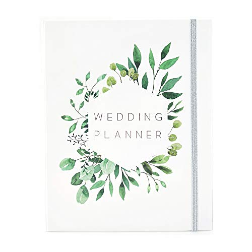 Modern Wedding Planner Book and Organizer for Brides with Gift Box   Engagement Gift for Couples   Hardcover Bridal Planning Journal Notebook   White & Leaves