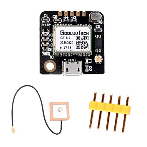 Geekstory GT-U7 GPS Module GPS Receiver Navigation Satellite with EEPROM Compatible with 6M 51 Microcontroller STM32 UO R3+ IPEX Active GPS Antenna for Arduino Drone Raspberry Pi Flight
