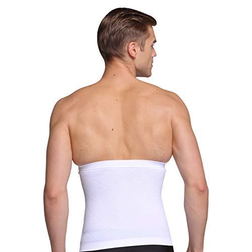 Fajas Lumbares para Hombre,Fitness Deportivo Que da Forma a La Cintura,Cintura Ajustada,Cinturón Elástico para el Cuerpo,Gran Tamaño de Alta Elasticidad White M