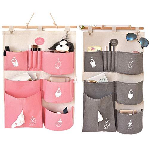 ZMYY 2 bolsas de almacenamiento para colgar en la pared, multifuncional, para dormitorio, estudio, baño, cocina
