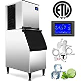VEVOR 110V Commercial Ice Maker 400LBS/24H with 350LBS Bin, Full Clear Cube, LCD Panel, Stainless Steel, Quiet Operation, Auto Clean, Air Cooling, ETL Approved, Professional Refrigeration Equipment
