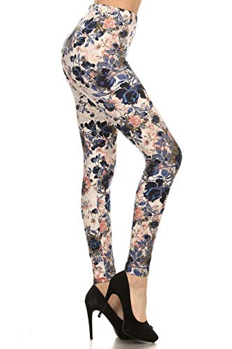 R593-OS Bloom Time Print Fashion Leggings