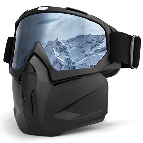 Smarcent Ski Snowboard Snowmobile Goggles Mask Motorcycle Goggles Mask Protect Padding Helmet Sunglasses(Black)