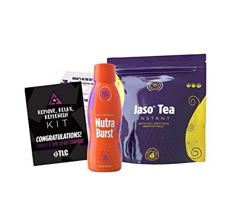 TLC Total Life Changes Remove, Relax, & Replenish Kit - NutraBurst Liquid Multivitamin - 32 Servings (16 fl Oz | 470ml) & Lemon Flavor Iaso Instant Tea All-Natural Detox & Cleanse (25 Sachets)