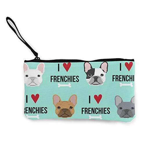 Frenchie Dog Fabric Womens Canvas Coin Purse Mini Change Wallet Pouch-Card Holder Phone Wallet Storage Bag,Pencil Pen Case
