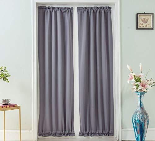 Aspthoyu 2 paneler sidoljus franska dörrgardiner mörkläggning ytterdörr gardin stång ficka fönster paneler för vardagsrum sovrum 63 x 183 cm, grå