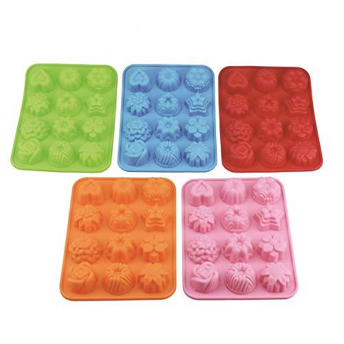 Silikon-Formen, 12 blütenförmige Gussformen, für Seife, Kuchen, Brot, Schokolade, Gelee, Süßigkeiten, 5 Farben (Rosa, Blau, Orange, Grün, Rot)