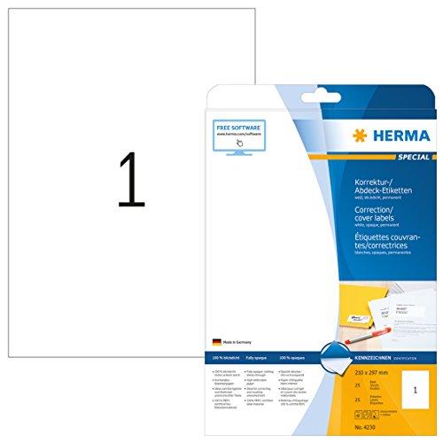 HERMA 4230 Abdeck-Etiketten DIN A4 blickdicht (210 x 297 mm, 25 Blatt, Papier, matt) selbstklebend, bedruckbar, permanent haftende Korrektur-Aufkleber, 25 Klebeetiketten, weiß