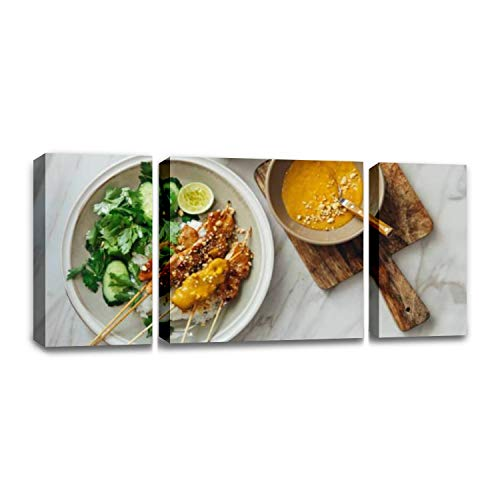 CCArtist Thai Chicken satay with Peanut Sauce no Pole Thais and Pictures Wall Decor Print on Canvas Modern Artwork Living Room Bedroom Painting Art Wall
