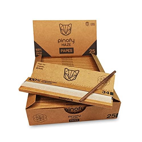 PINOFY Longpapers [25 Heftchen je 34 Blättchen] Ungebleichte King Size Slim Long Papers Big box Drehpapier   Rolling Paper   Rollpapier Kingsize