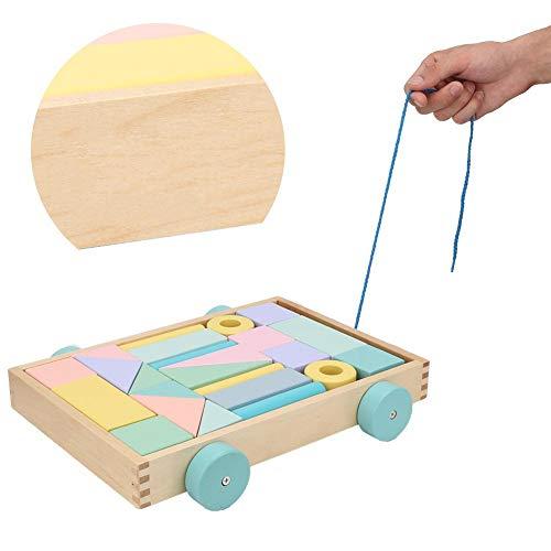 Kleur Macaron Infant Early Childhood Trailer Toy, DIY Child Kid Educatief Houten Bouwsteen Intelligent speelgoed met auto-vorm opbergdoos