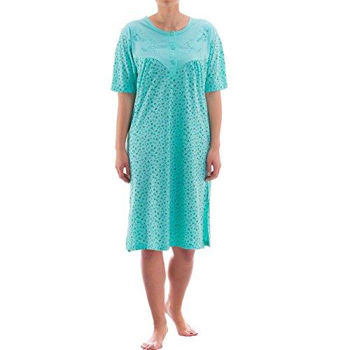 Zeitlos Nachthemd kurzarm mit floralem Druck (M, mint)