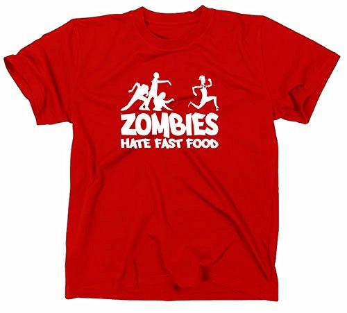 Zombies Hate Fast Food Fun T-Shirt Zombie Horror, Rot, M