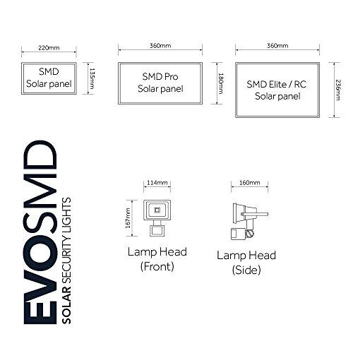 Evo SMD Elite Outdoor Solar Powered PIR Motion Sensor Security Light