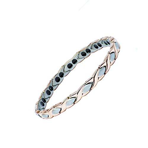 Ladies Pure Titanium Bracelet with Rare Elements for The Relief of HOT FLUSHES, Menopause, Blood Circulation, Emotional Stress, RSI, Arthritis, Joint Muscle Pain, Rheumatism