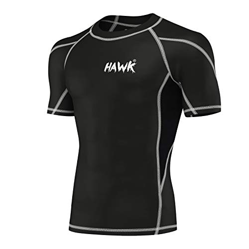 Mens Compression Shirts Base Layer Athletic Gym MMA BJJ Rash Guard No Gi Short Sleeve Rashguard Shirt for Men (Black, Medium)