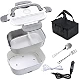 Nico Electric Lunch Box , Portable 2 In 1 Lunch Boxes Food Heater for Car Truck Office, Removable 304 Stainless Steel Food Warmer Container,SS fork & spoon and Carry Bag Dark Gray