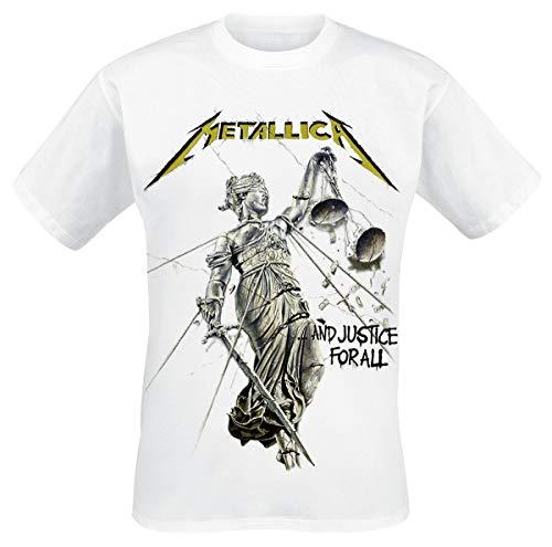 Metallica Justice Männer T-Shirt weiß L 100% Baumwolle Band-Merch, Bands