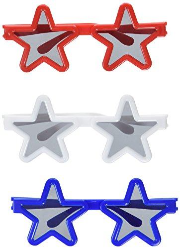 "Amscan Children Fun-Filled Stars Sunglasses, 12 Ct, 5 3/4"" x 9 1/2"", Red White & Blue"