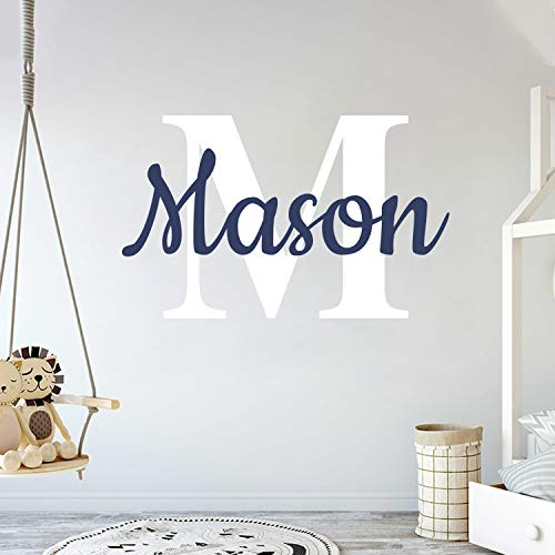 Custom Name & Initial - Prime Series - Baby Boy Girl Unisex - Wall Decal Nursery for Home Bedroom Children (Wide 22' x 15' Height)