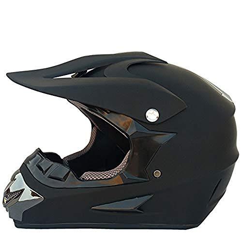 JCLDG Motorrad Helm Motocross Helme City Helme BMX Helme Motorrad Crosshelme Schwarz Matt Set mit Handschuhe Maske Brille, Unisex Adult Moped Quad ATV Enduro Motocross Motorradhelm,M