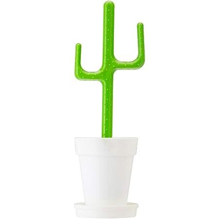 VIGAR Flower Power-Cactus Escobillero de Baño de Pie, Polipropileno, Verde, 12,5 X 11,5 X 39 (Cm)