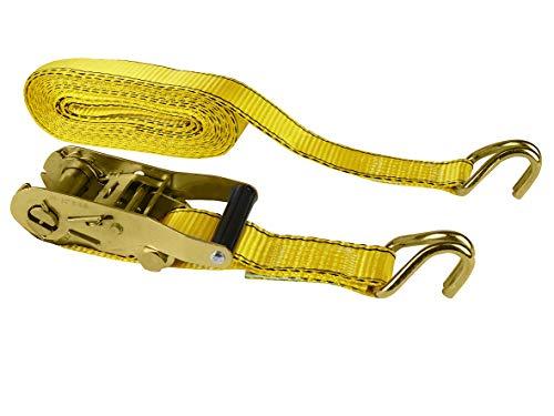 LAS 10335 spanriem, met ratel en J-haken, ca. 38 mm x 6 m, geel